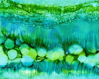 Alcohol Ink Painting on 9x12 Yupo Paper, Fluid Art Painting, Original Abstract Painting, Modern Home Decor, turquoise blue lime teal green