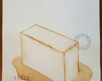 ANTONIO TOCORNAL #355 Melting Box Ice Block Puddle Liquid Transformation Brown Sepia Vintage Watercolor Painting Artist Signed Eclectic Art