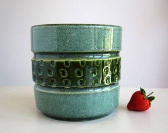 1970s mid century ceramic flower pot / vintage German fat lava pottery plant vase