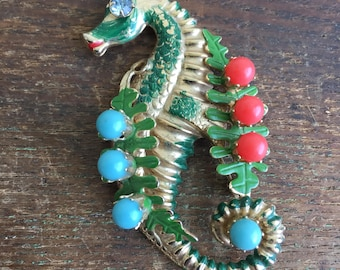 Vintage Brass SeaHorse Sea Horse Brooch With Rhinestone Eyes and Turquoise/Red Stones