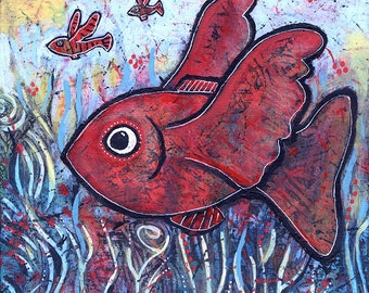Colorful Fish Painting for Sale - One Fish, Two Fish, Three Fish
