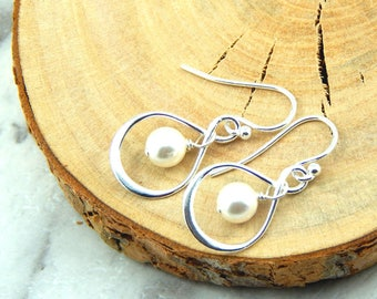 infinity jewelry, infinity earrings, Sterling Silver,  Infinity Earrings With Pearl Accent