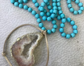 Hand Knotted Turquoise Necklace with Natural Druzy Geode Pendant Long Bohemian Layering Style - Stardust Handmade by SplendorVendor