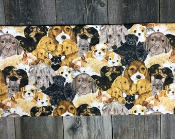 lots and lots of adorable dogs puppies hand quilted table runner center piece table decoration