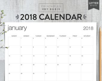 2018 Calendar Printable, 2018 Wall Calendar, Printable Calendar 2018 Instant Download PDF