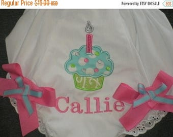 ON SALE Personalized Birthday Cupcake Bloomers Diaper Cover Monogrammed First Birthday