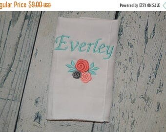 ON SALE Personalized Flower Monogram Burp cloth, Girls  Flower Burp cloth