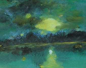 Moonlite Lake, a one of a kind monotype print