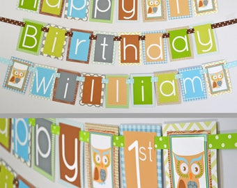 Woodland Owl Birthday Party Banner Decorations Fully Assembled | Owl Birthday Banner | Woodland Owl Banner | Forest Birthday Party |