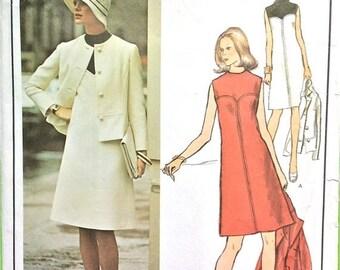 ON SALE Uncut Vogue Paris Original 2833 Designer Molyneux One-Piece A-line Dress Jacket 1960s Vintage Sewing Pattern Bust 34