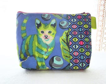 Tula Pink Disco Kitty Fabric Gadget Pouch Small Cosmetic Bag Fabric Zipper Pouch Makeup Bag Tabby Road Striped Kitten Cat Blue Lime Green