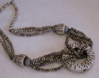 vintage 1970s Ethnic Carved Bone Necklace