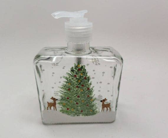 Hand painted Soap or Lotion Dispenser with two tiny reindeer and Christmas Tree