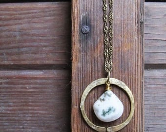 ON SALE Redwoods Necklace - Turquoise or Moss Agate Stone - Rustic Stone Jewelry - Moss Agate Necklace - Rustic Turquoise Necklace