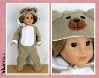 Bear animal onesie Doll Clothes to fit 18 inch dolls such as American Girl Doll, Our Generation and similar H91