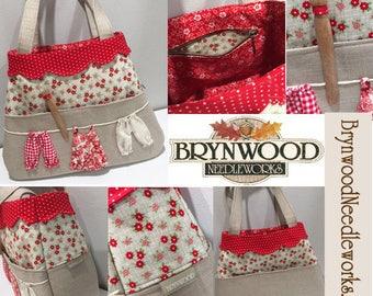 Brynwood Needleworks Clothesline Bag, Clothesline Handbag, Linen Handbag, Linen Clothesline Handbag