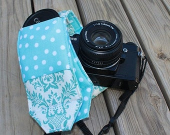 SummerSale Ready to ship monogramming not available Wide Camera Strap for DSL camera Turquoise and White Damask with Polka Dot Reverse and L