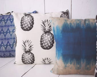 "Black and Cream Pineapple Pillow Cover 18"" x 18"" Pillow Cover - High quality zippered pillow cover"