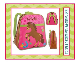 28 Fonts- Personalized HORSE Pink Vinyl Backpack- Dance/ Day Care/ Kindergarten/ Preschool Bag/ Elementary