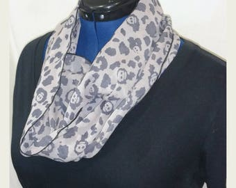 Skull and Leopard print Chiffon Infinity Scarf