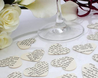 Paper heart wedding confetti- 200 Jane Austen book die cut punched hearts 3.5cm by 3cm- Great romantic Valentines table decoration