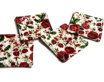 Red Roses Quilted Fabric Coasters Romantic Coaster Set of 4