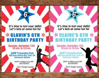 Ninja Boy or Girl Warrior Jump Kick Birthday Party Invitation - DIGITAL FILE