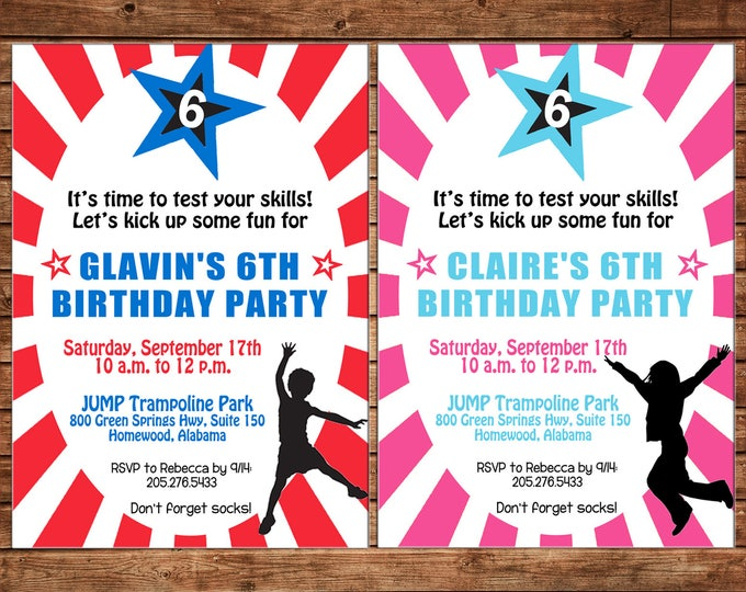 Boy or Girl Invitation Ninja Warrior Obstacle Course Birthday Party - Can personalize colors /wording - Printable File or Printed Cards