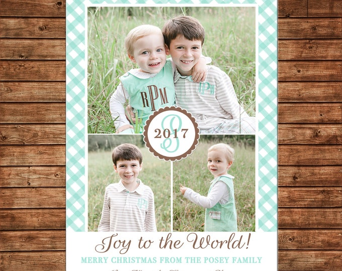 Christmas Holiday Photo Card Joy to the World Mint Gingham Monogram  - Can Personalize - Printable File or Printed Cards