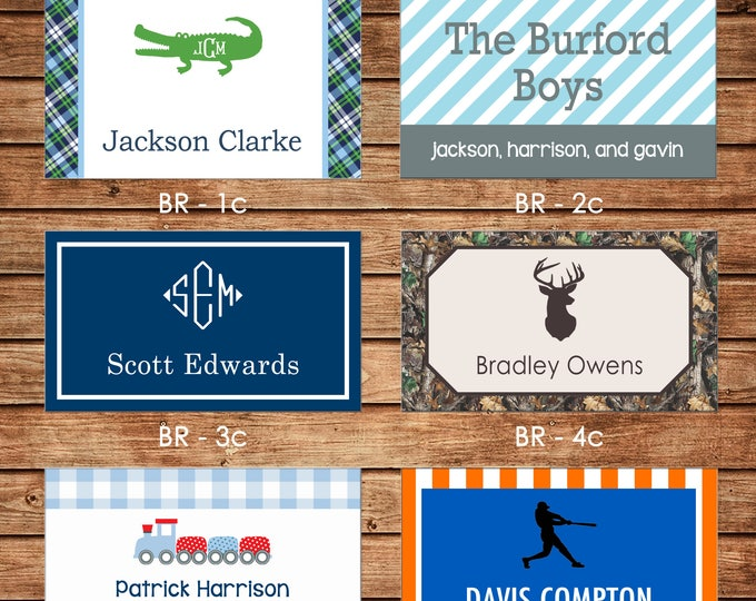 20 Printed Boy Rectangle Gift Tags Enclosure Cards Stickers - Can personalize - Choose ONE design