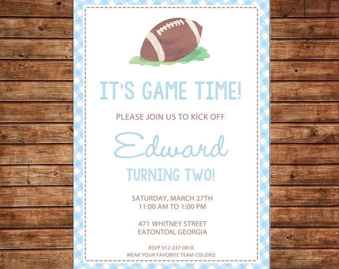 Boy Invitation Watercolor Football Gingham Baby Shower Birthday Party - Can personalize colors /wording - Printable File or Printed Cards