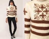 Wool Sweater Striped Sweater 80s TURTLENECK Ski Sweater Boho Pullover Jumper Cream Brown Hipster Vintage Knit Funnel Neck Small