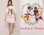 Disney Nightgown Minnie Tshirt Dress MICKEY MOUSE Pajama Dress Sleep Dress Cartoon 80s T Shirt Mini Vintage Extra small Medium Large xl xs