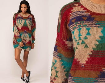 Bohemian Sweater Tribal 80s Aztec Southwestern Sweater Long Geometric Print Slouchy 1980s Bohemian Vintage Pullover Jumper Knit Large