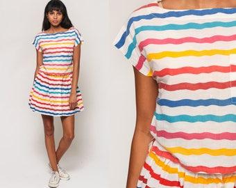 Rainbow Striped Dress Two Piece 80s Mini TOP + SKIRT SET Outfit 1980s Shirt High Waist Summer Button Up Pink Blue Vintage Small