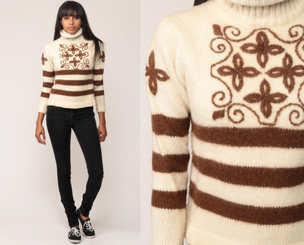 Wool Sweater Striped Sweater 80s TURTLENECK Ski Sweater Boho