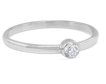 Stacking sterling silver birthstone ring with cubic zirconia