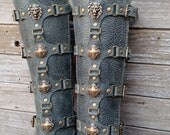 Gray Leather Shin Guards, Shinguards or Gaiters with Antiqued Brass Lion and Shields