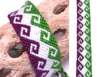 Friendship bracelet - wide - embroidery floss - tidal wave - large - knotted - handmade - macrame - woven - string - greek - purple - green