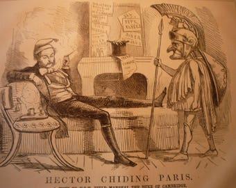1854 - Hector Chiding Paris -  Victorian Satire - Punch London - original magazine illustration early cartoon April 29 1854