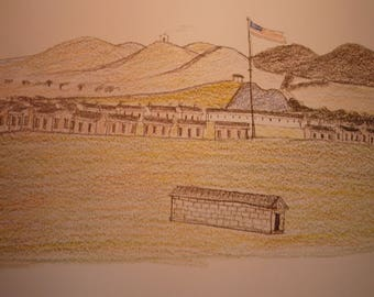 Fort Sill by Zo Tom - Plains Indians Sketch Books - 1874 Native American Print for 11 by 14 frame Ledger Art