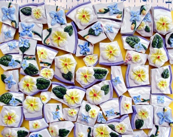 Yellow and Blue Embossed Shabby Chic Flowers Mosaic Tiles