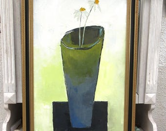 Floral painting; Oil with knife on canvas on chassis:  Rythmes Harmonieux