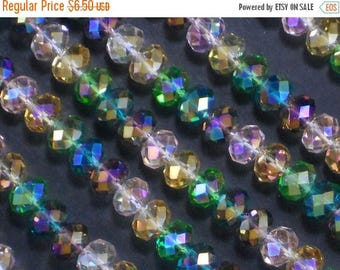 ON SALE LAST 70 Beads Crystal Rondelles Spacers 4 Colors Angelic 6mm x 8mm Faceted (C298)