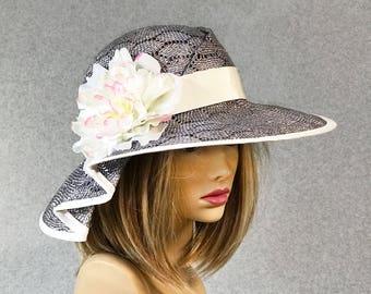 Kentucky Derby hat, Gloria, beautiful womans straw hat, with ivory silk flower