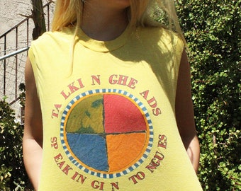 RARE!! Vintage Talking Heads band T-Shirt // '83 Speaking in Tongues Tour // Threadbare Super Soft Muscle Tee Sleeveless