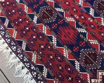Vintage kilim rug/ red, navy, white/flat weave, low pile/7 x 4 feet