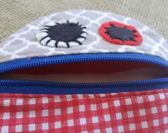 Monster Mouth Coin Pouch in Red, Gray, White and Blue