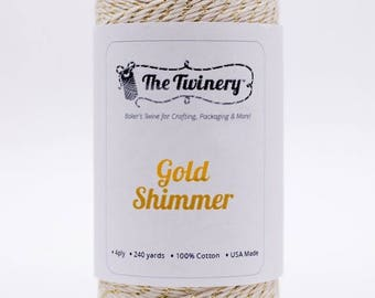 25% Off Summer Sale Full Spool - 240 Yards - Metallic - Gold Shimmer - Baker's Twine