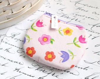 Coin Purse Change Purse Pink Floral Cute Floral Zippy Pouch
